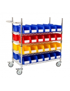 Chrome Wire Trolleys with Bins